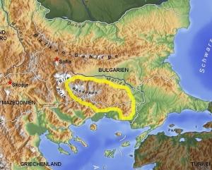 carta topografica monti rodopi caccia a palla-Montefeltro viaggi caccia Bulgaria